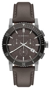 Burberry NWOT Burberry Swiss Chronograph Gray Leather WATCH BU9384