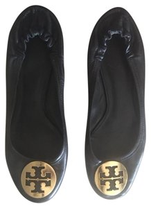 Tory Burch Gold Black Flats