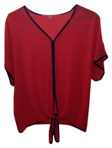 Francesca's Chiffon Nautical Top Red