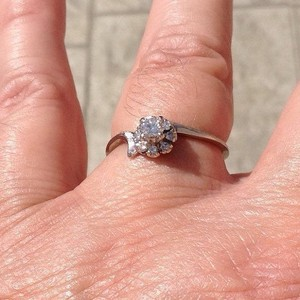 Vintage, Size 9, Lady's, 14k white gold, 0.37 ct. t.w. genuine diamond, engagement, wedding, anniversary, solitaire ring