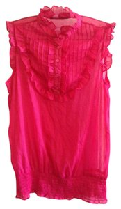 Jennifer & Grace Ruffles Semi-sheer Tank Top Pink Magenta Fuschia
