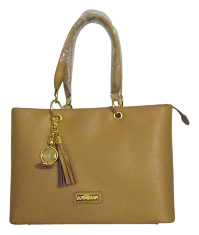27754734e3ac85 Joy & IMAN Genuine Timeless Chic Everything Rich Camel Leather Tote ...