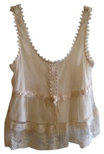 Forever 21 Boho Bohemian Shabby Chic Festival Summer Top White Off-white Cream