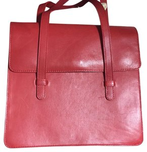 Green Fields Leather Purse Organizer Tote Satchel in Red