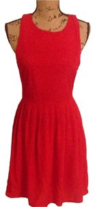 Jack by BB Dakota short dress red Slit Pleated Fit And Flare Light Size Small Size 4 Size 6 Nordstrom on Tradesy