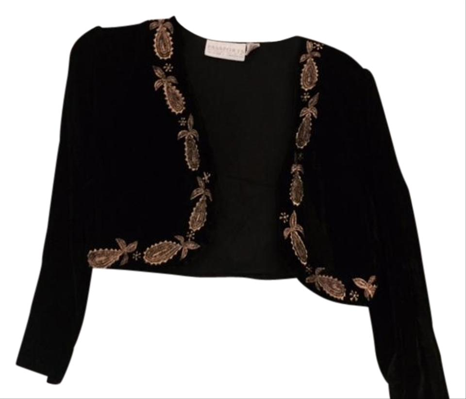 Pier 1 Imports Black with Gold Embroidery Velvet Bolero Cover-up ...