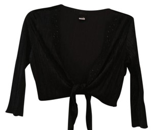 JTB Embellished Sequined Cover Up Crushed Velvet Beading Top Black sequined