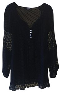 Daniel Rainn Oversized Sheer Lace Top BLACK