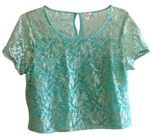 I Love H81 Crop Tee Crop Top Mint Green Metallic Silver