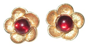 Metropolitan Museum of NY MMA Gold Plated Flower Red Cabochon Earrings --Retired!