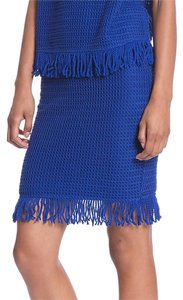 Tracy Reese Marine Lace Fringe Cotton Mini Skirt blue
