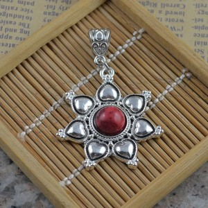 Red Turquoise Snowflake Pendant Free Chain & Shipping