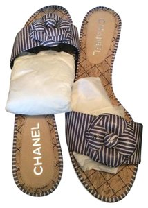 Chanel Quilted Brand New Striped Blue/White Sandals