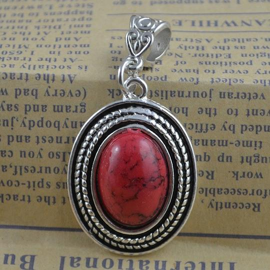 Red/Silver Bogo Free Turquoise Pendant Free Shipping Necklace
