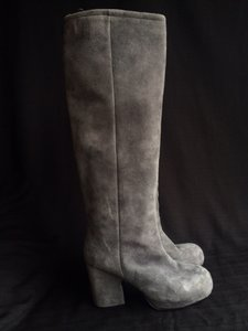 Acne Studios Blue-Grey Suede Knee high Boot Boots