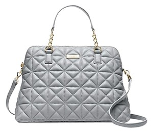 Kate Spade Leather Quilted Gold Hardware Satchel in Smokey Gray