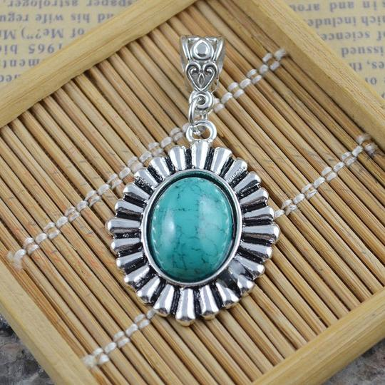 Silver/Turquoise Bogo Free Pendant with Free Chain Shipping Necklace