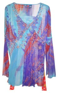 Phool Exquisite Fancy Blue Sheer Top mostly blue/multi