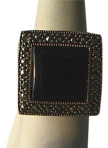 Other Bold Sterling Silver Square Onyx & Marcasite Ring