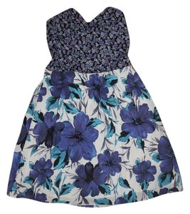 Xhilaration short dress Blue & White Floral on Tradesy