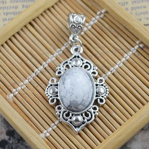 White Turquoise Pendant With Free Chain And Shipping