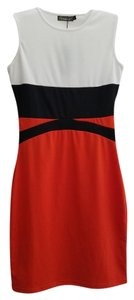 short dress Orange, black, white on Tradesy
