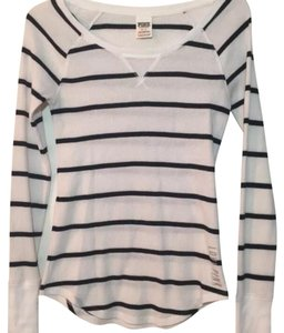 Victoria's Secret T Shirt White (black stripes)