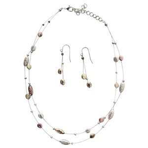 Other Triple Toned Layered Necklace & Earring Set Gold Silver Copper