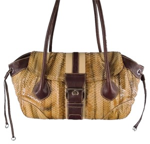 Prada Buckle Stripe Ribbon Python Shoulder Bag