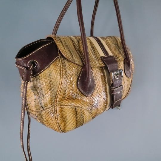 Prada Buckle Stripe Ribbon Python Snakeskin Shoulder Bag