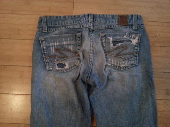 BKE Denim Low Rise Distressed Washed Like New Once Worn Marked Boot Cut Jeans-Distressed