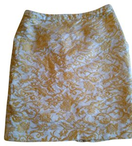 Banana Republic Embosed Silk Skirt Gold