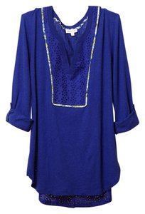 Anthropologie Eyelet Henley Linen Tunic