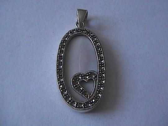 Vintage Sterling Silver Mother of Pearl Heart Pendant
