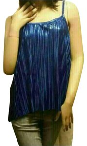 H&M Ribbed Club Shiny Summer Cami Top Blue