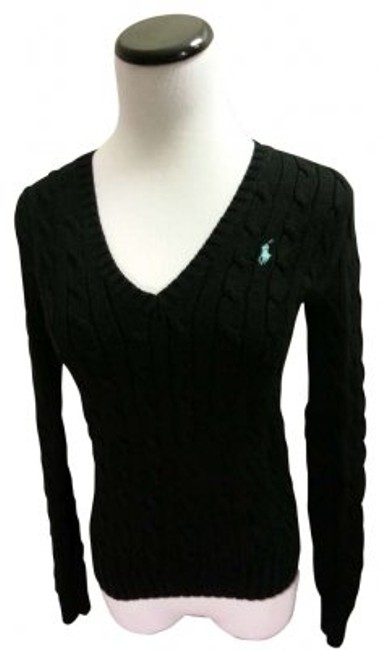 Preload https://item2.tradesy.com/images/ralph-lauren-black-with-mint-cable-v-neck-sweaterpullover-size-2-xs-166046-0-0.jpg?width=400&height=650