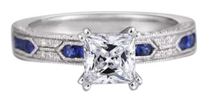Other New Vintage Style Blue And White Sapphire White GF Ring Sz 4