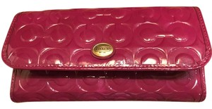 Coach Peyton Embossed Patent Leather Checkbook Wallet