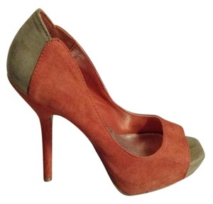 Penny Loves Kenny Suede Sexy Stiletto Orange and Beige Pumps
