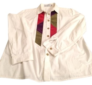 Howard Wolf Cotton Button Down Shirt Button Down Shirt white with colored patch at top front