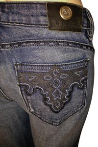 Antik Denim Embroidered Boot Cut Jeans-Distressed