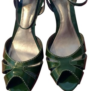 Ann Taylor Sandals Peep Toe Pin Up Dressy Green Platforms
