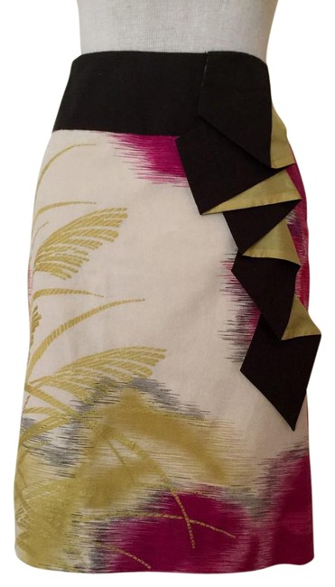 Item - Ivory/Charcoal Gray/Pink/Yellow Gold By Floreat Skirt Size 0 (XS, 25)