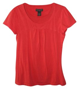 Banana Republic Pleated Crew Neck T Shirt Red