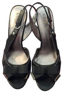 Guess Peep Toe Sandals Slingback Black Wedges