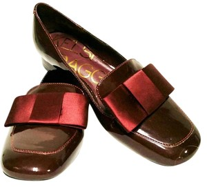 Kelsi Dagger Patent Leather Bow dark cherry Flats