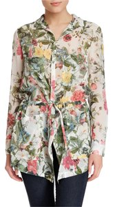 Haute Hippie Floral Jacket Silk Top Multi