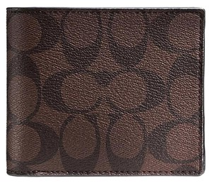 Coach Coach Signature Compact ID Double Billfold Mahogany Brown Mens Wallet F74993