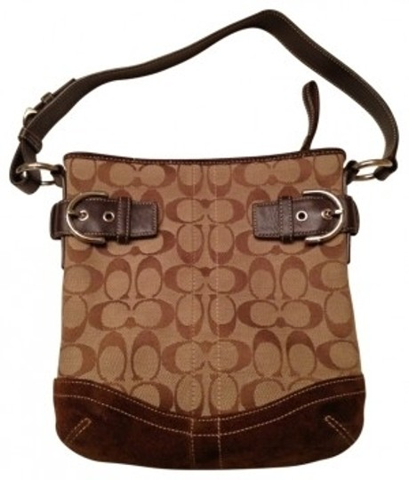 Preload https://item5.tradesy.com/images/coach-brown-tan-fabric-and-suede-shoulder-bag-166064-0-0.jpg?width=440&height=440