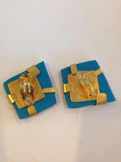 HERVE VAN DER STRAETEN HERVE VAN DER STRAETEN AUTHENTIC 24K GOLD PLATED AND BLUE EARRINGS